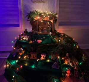 "a picture of our Nativity or ""Pesebre"" as we call it in Colombia. They are very elaborate in Colombia, and a tradition in our family to do a large one similar to below. We also do a novena to baby Jesus in the days leading up to his birth!"